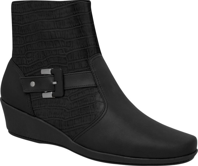 Piccadilly Ref: 144026 Women Short Black Boot With Buckle Wedge Heel