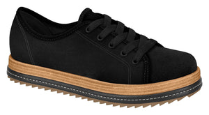 Beira Rio 4196.203-1258 Women Wooden Platform Sneaker in Black With Lace