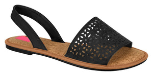 Moleca 5445.101 Women Fashion Laser Cut Sandal in Black