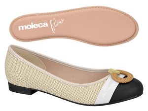 Moleca 5671.101 Women Fashion Flats in White Natural