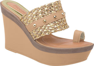 Piccadilly 610001-271 Women High Wedge Sandal Nude