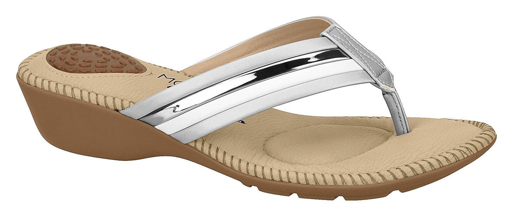 Beira Rio 7017.453-1293 Women Flat Fashion Jandal Flip-flop Travel Casual Shoe in White & Silver