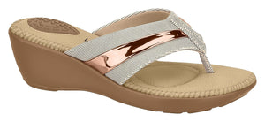 Beira Rio 7023.225-1284 Women Flat Fashion Jandal Flip-flop Travel Casual Shoe in Pink & Gold