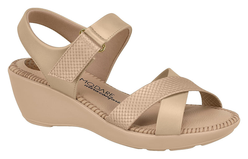 Beira Rio 7023.237-1285 Women Flat Fashion Sandal Travel Casual Shoe in Beige
