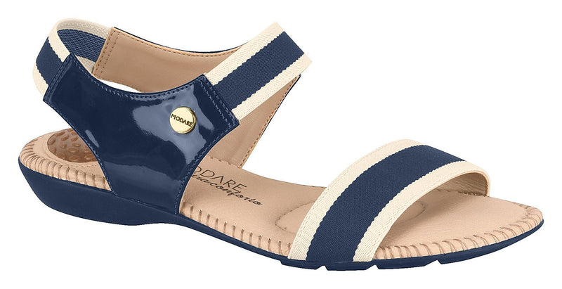 Beira Rio 7025.234-1297 Women Flat Fashion Sandal Travel Casual Shoe in Navy & White