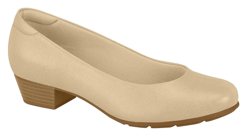 Beira Rio 7032.400-1290 Women Low Heel Round Toe Business Everyday Comfort Shoe in Beige