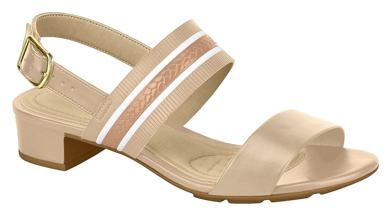 Beira Rio 7044.417-1294 Women Low Heel Everyday Summer Comfort Sandal in Beige & Nude