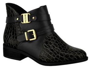 Women Low Heel Comfortable Ankle Boot Croco Black Modare 7057.107