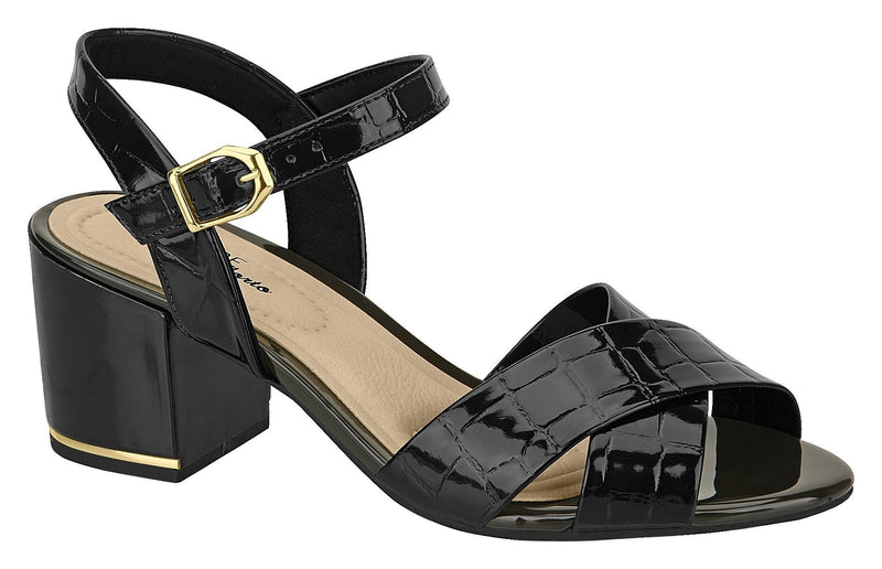Beira Rio 7109.201-1289 Women Mid Heel Fashion Summer Comfort Sandal in Croco Black