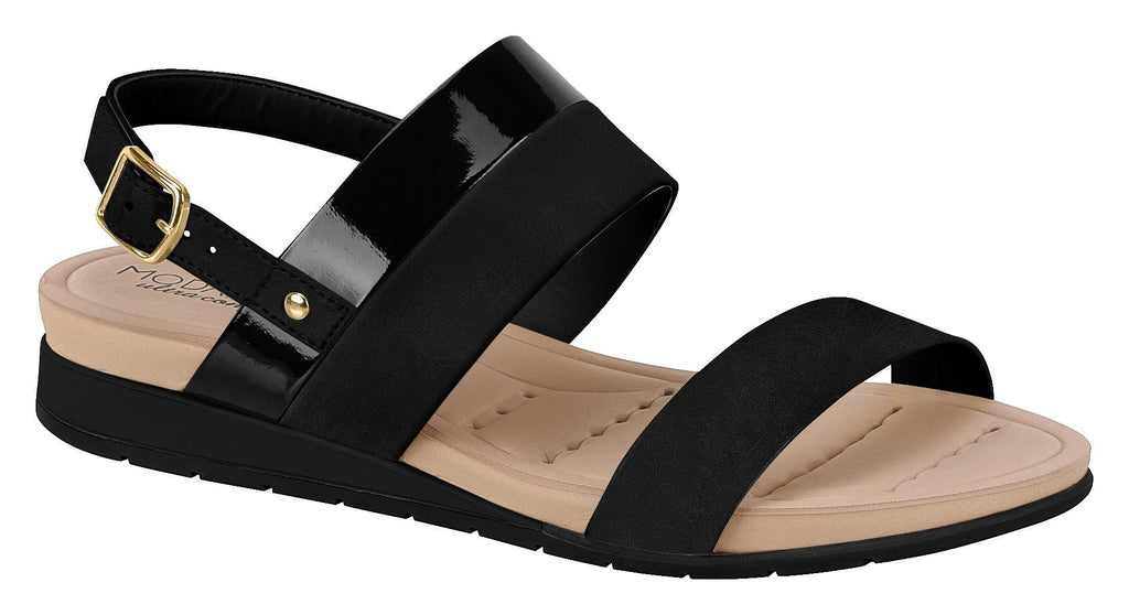 Beira Rio 7113.103-1345 Women Flat Platform Wedge Fashion Summer Comfort Sandal in Black