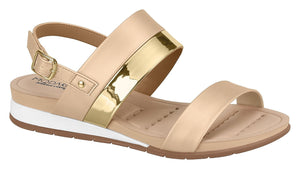 Beira Rio 7113.103-1303 Women Flat Platform Wedge Fashion Summer Comfort Sandal in Gold Beige