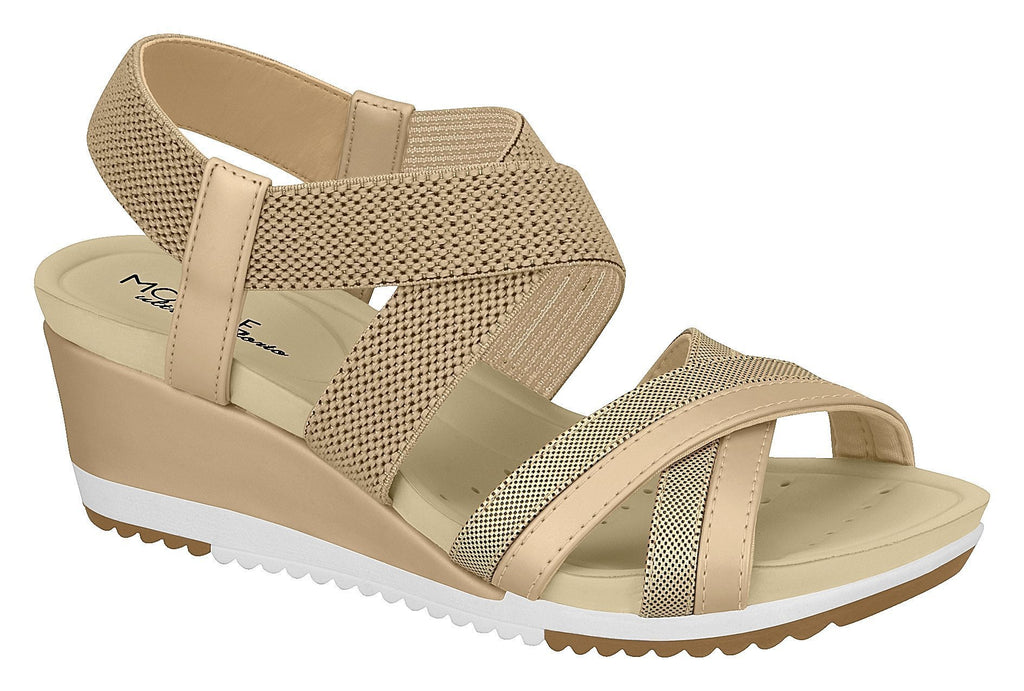Beira Rio 7123.102-1310 Women Flat Platform Wedge Fashion Summer Comfort Sandal in Beige Gold