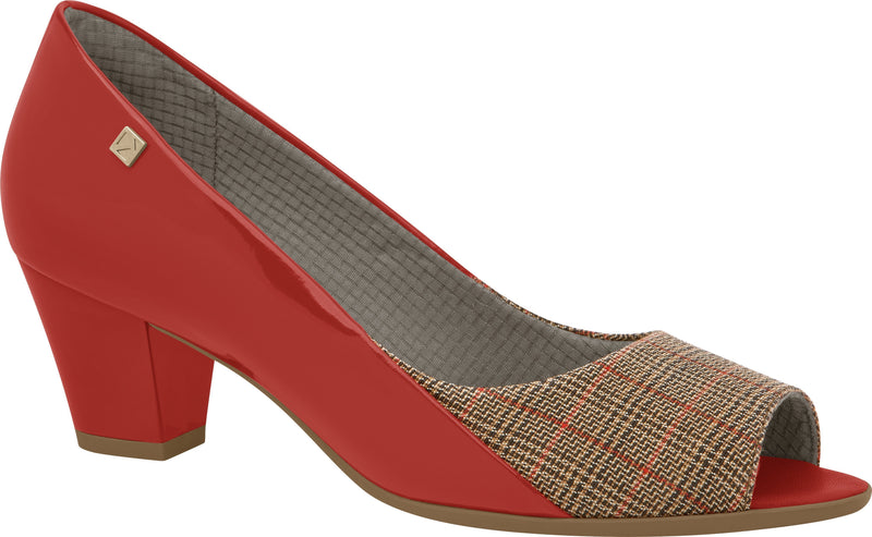 Piccadilly 714088-1110 Women Peep Toe Mid Heel Red