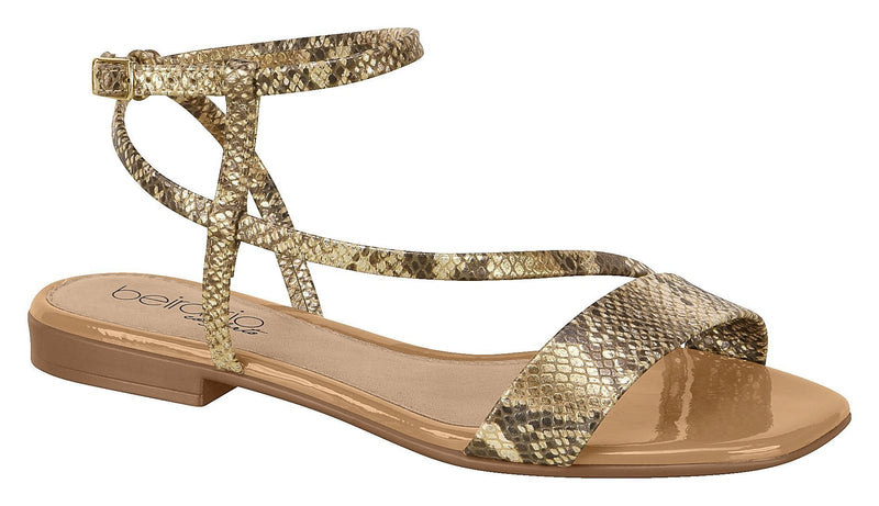 Beira Rio 8328.113-1335 Women Fashion Flat Sandal Comfort Business in Animal Print