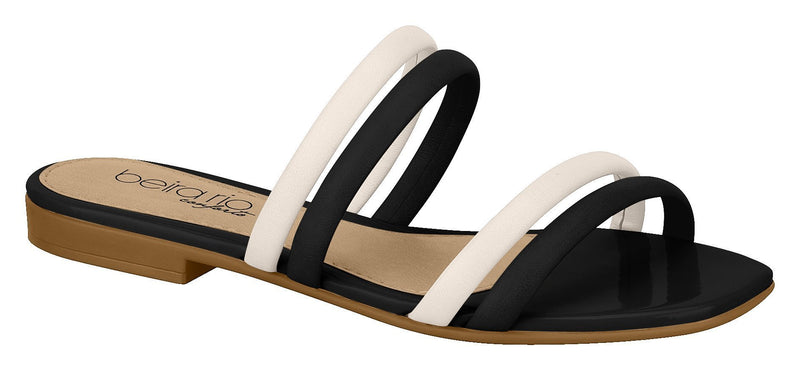 Beira Rio 8328.126-1337 Women Fashion Flat Flip-Flop Comfort in Cream Black