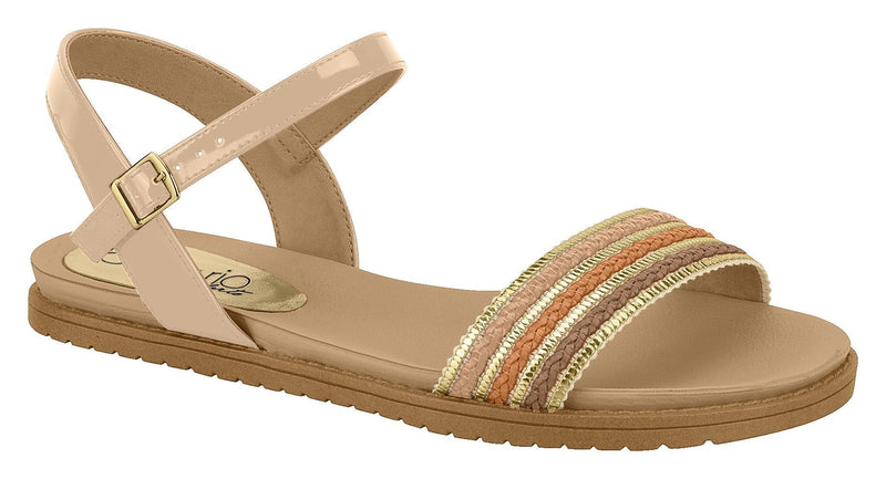Beira Rio 8337.115-1238 Women Fashion Flat Summer Sandal Comfort in Beige