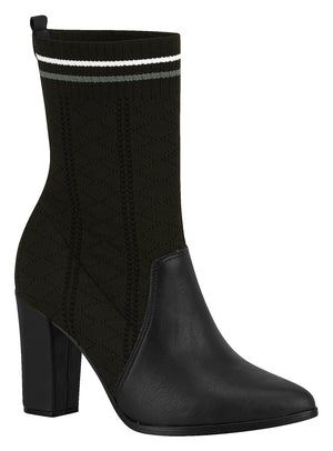 Beira Rio 9043.121 Women Fashion Comfortable Sock Style Ankle Boot in Black