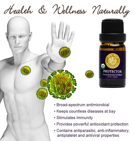 person holding up hand to keep germs at bay, list of protector essential oil blend benefits
