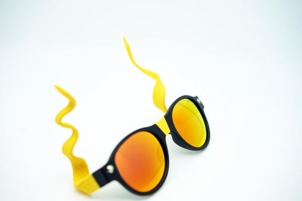 pair of beandit sunglasses with yellow arms