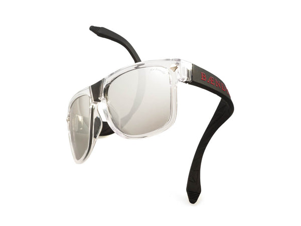 transparent frames with mirrored lenses and black arms