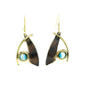 Aqua Tigers Eye Brass Earrings