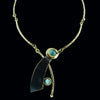 Aqua Tigers Eye Brass Necklace - Last In Stock!