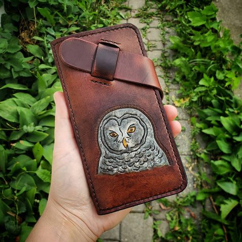 handmade phone wallet with grey owl hand tooled and painted