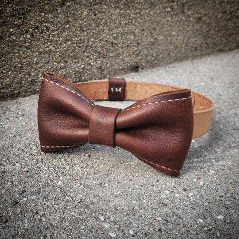 leather neck bow brown formal