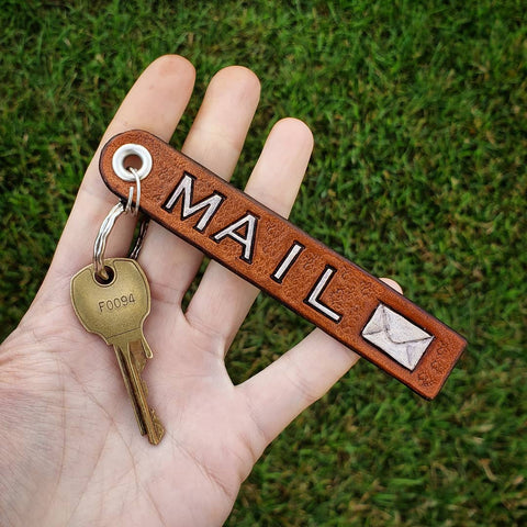 handmade leather hand tooled hand painted mail key chain key fob