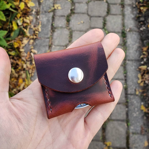 handmade leather challenge coin pouch