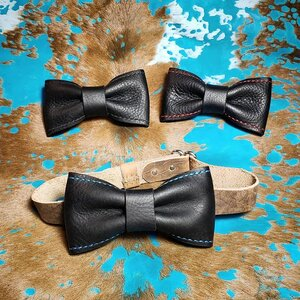 leather neck bow black formal