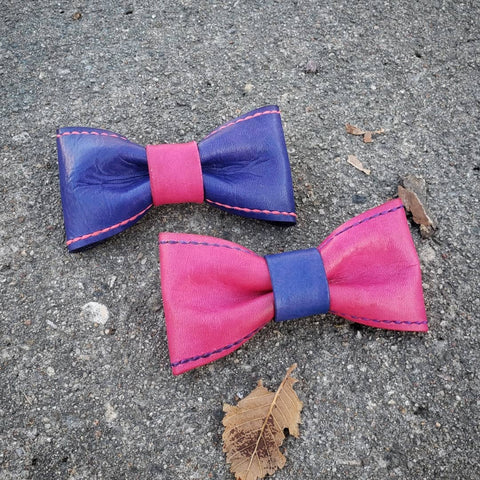 leather hair bow pink purple