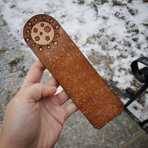 Hand-tooled brown leather covid-19 virus bookmark