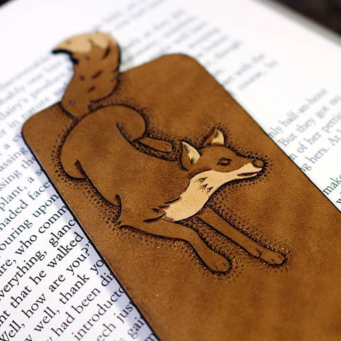 Hand-tooled brown leather fox bookmark