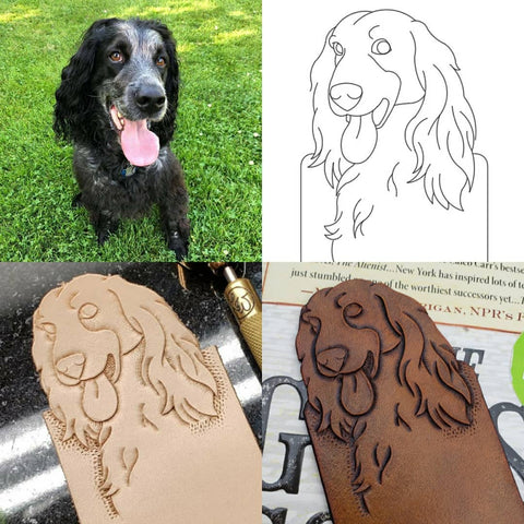 Hand-tooled brown leather dog bookmark