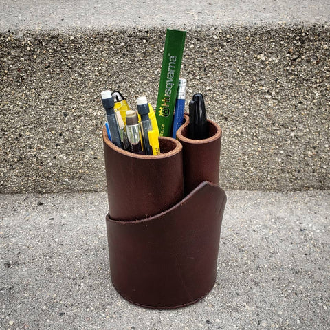 handmade leather pen cup for office desk