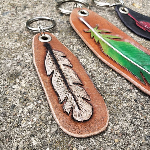 handmade leather hand tooled hand painted white feather key chain key fob