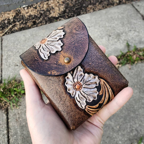handmade hand tooled hand painted case deck of cards