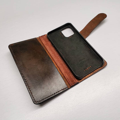 handmade phone wallet with dragon hand tooled and painted
