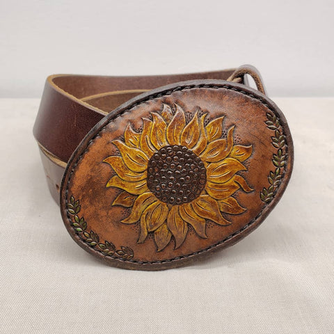 leather hand tooled hand painted buckle sunflower