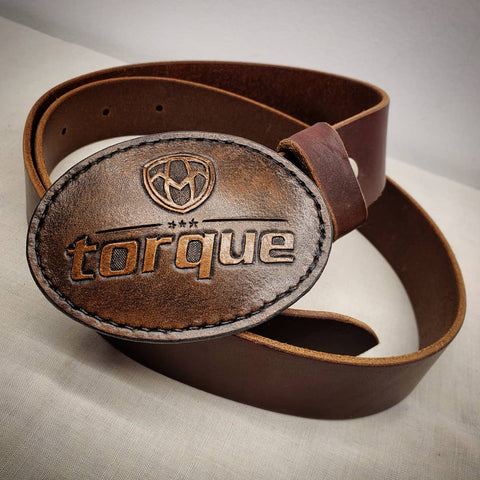 leather hand tooled hand painted buckle torque brewing beer