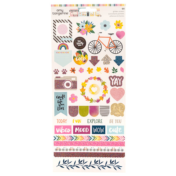 AMERICAN CRAFTS  Sticker | Slice of Life | 6x12 Stickers Glitter Accents