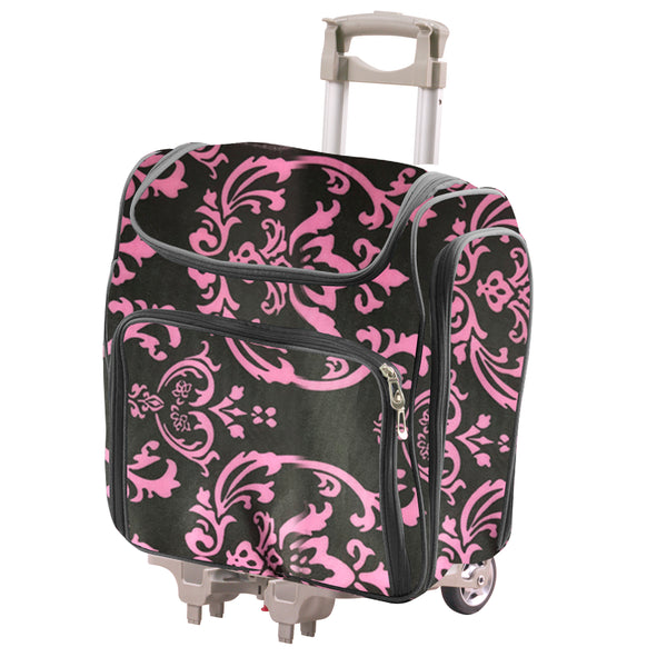 COUTURE CREATIONS Craft Rolling Travel Trolley - Pink Damask