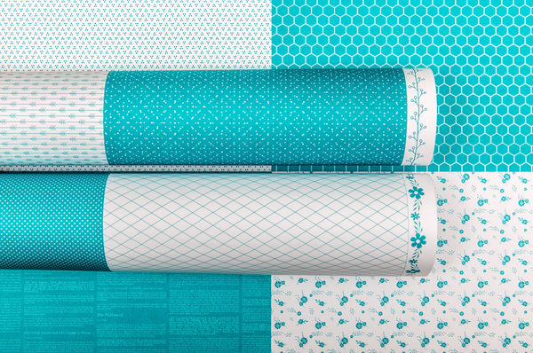 LADY PATTERN PAPER Basic Essentials Hello Cards Intense Teal