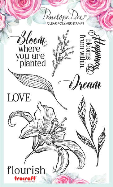 PENELOPE DEE - Fleure Flourish - Clear Polymer Stamp Set