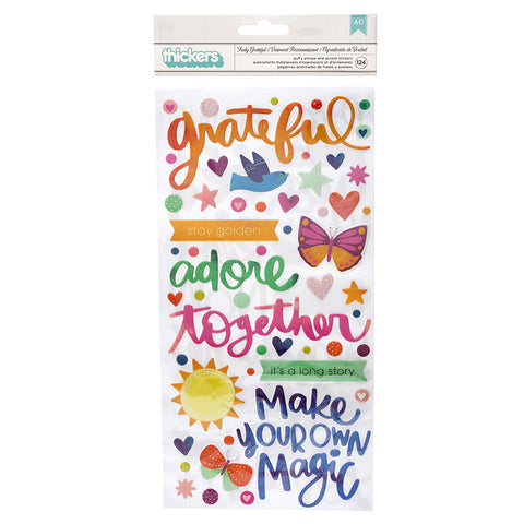 AMERICAN CRAFTS Thickers | Truly Grateful | Phrase Puffy Stickers