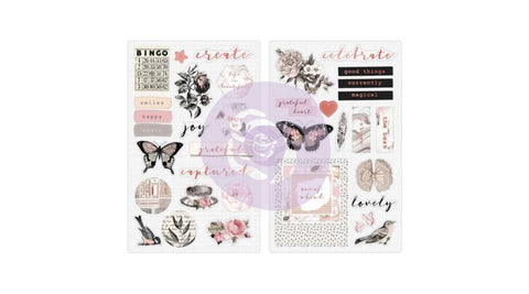 PRIMA - Amelia Rose - Pink Roses Chipboard Stickers
