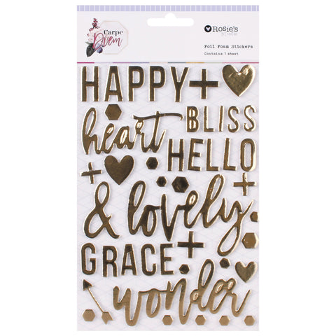 ROSIE'S STUDIO Carpe Diem | Foil Foam Stickers