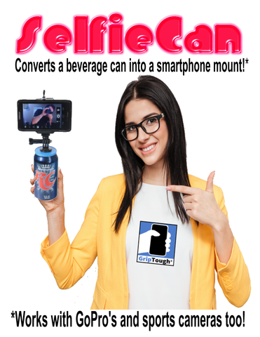 GripTough ® SelfieCAN™ - Turns Your Beverage Can Into A Cell Phone Stand!