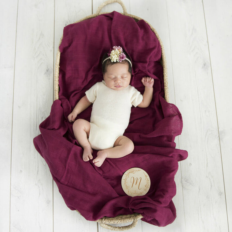 Organic Muslin Baby Wrap in Ruby by Snuggle Hunny Kids | Light weight, breathable and easy to use. They are super soft and gentle on baby's skin.  A simple and beautiful way to swaddle your baby. This would make the perfect gift for a new baby or the expecting mum | Stitch Piece Loop | Australia